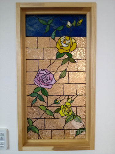 stainedglass panel rose