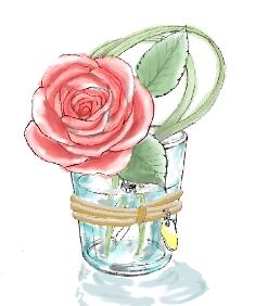 水彩でバラの一輪差しを、描いてみました!