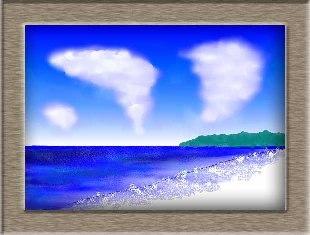真夏の海岸を水彩画で