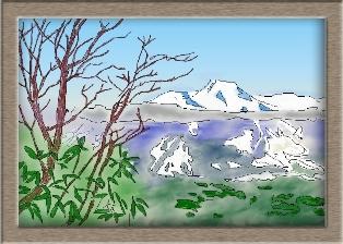 雪山を水彩画で