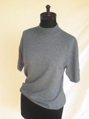 〈カシミア〉ハイネック半袖セーター(M) top_Gray