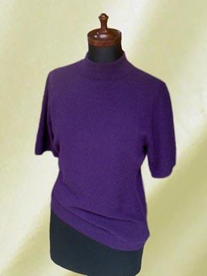 〈カシミア〉ハイネック半袖セーター(M) Purple
