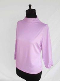 〈ポリエステル〉ギャザ入り七分袖プルオーバー Pink(背景いまいち)