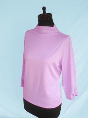 〈ポリエステル〉ギャザ入り七分袖プルオーバー Pink