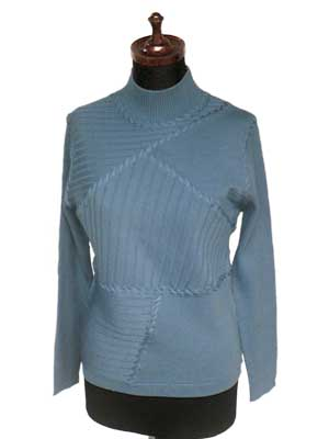 〈ウール100%〉ハイネックデザインプルオーバー Blue