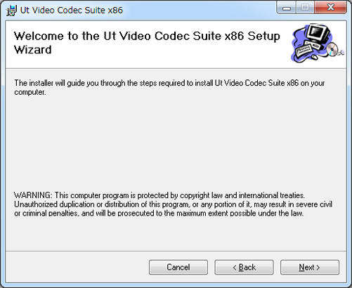 UtVideo Codec Suite x86 Setup Wizard