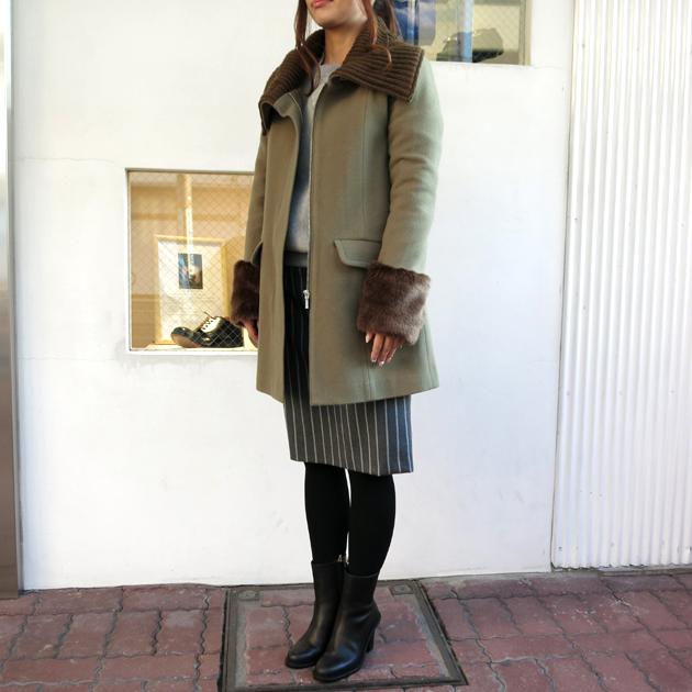 SRIC ファーカフス ニット襟コート.JPG