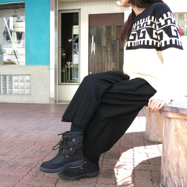 KIMBERTEXスノーブーツ ROSE BUDジオメトリックニット.JPG