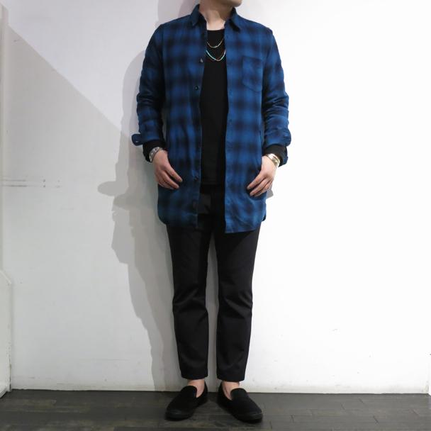 ガイジンメイド インディゴチェックロングシャツ (1).JPG