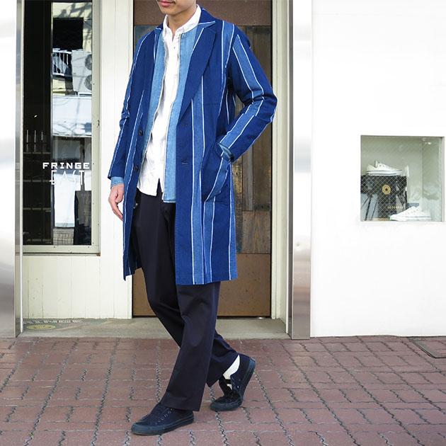 BLUE BLUE JAPAN メンアサキャンバス トラッドストライプアトリエ コート.jpg