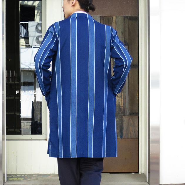 BLUEBLUE JAPAN メンアサキャンバス トラッドストライプアトリエ コート.jpg