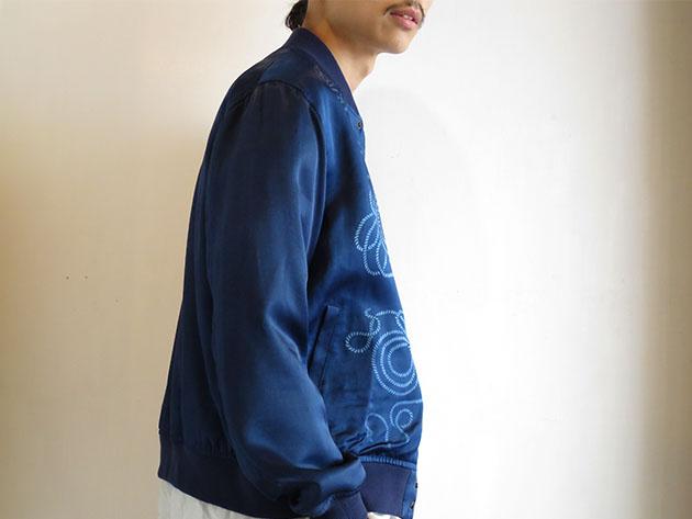 BLUE BLUE JAPAN インディゴテゾメ ナワガラアオノコシ  ベースボールジャケット .jpg
