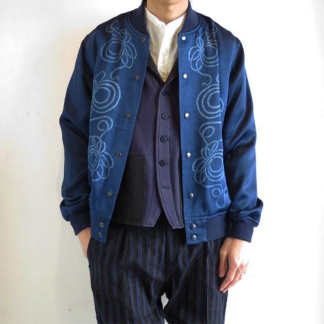 BLUE BLUE JAPAN インディゴテゾメ ナワガラアオノコシ ベースボール ジャケット .jpg