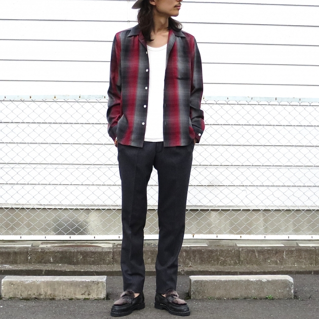 WACKOMARIA ワコマリア チェックシャツ オープンカラー.JPG