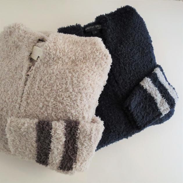 BAREFOOT DREAMS Womens long zip hoodie with stripe (2).JPG