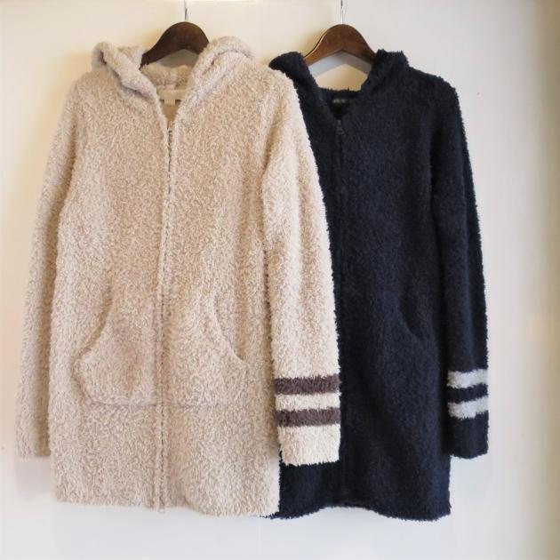 BAREFOOT DREAMS Womens long zip hoodie with stripe.JPG