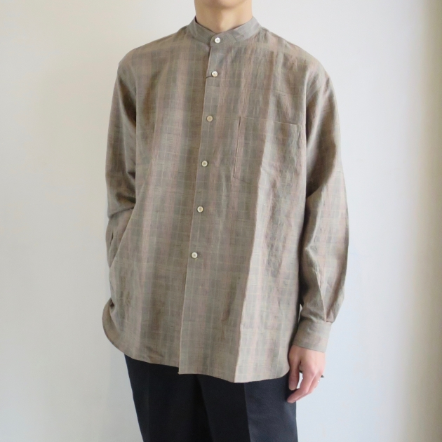 WELLDER  Band Collar Shirt Beige Glen Plaid  ウェルダー バンドカラーシャツ .jpg