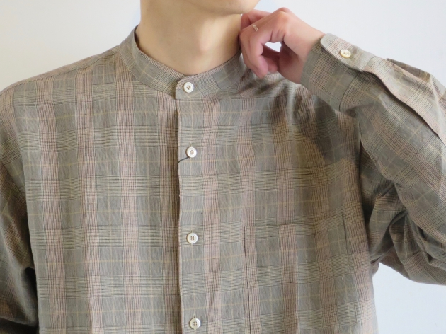 WELLDER  Band Collar Shirt Beige Glen Plaid  ウェルダー バンドカラーシャツ 2.jpg