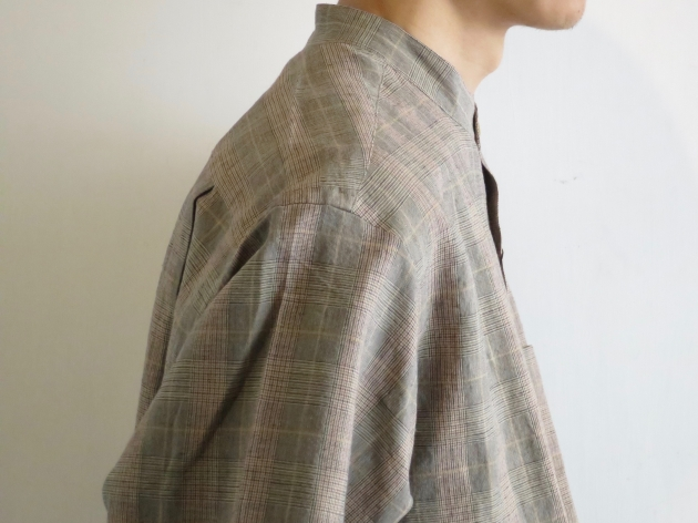 WELLDER  Band Collar Shirt Beige Glen Plaid  ウェルダー バンドカラーシャツ 3.jpg