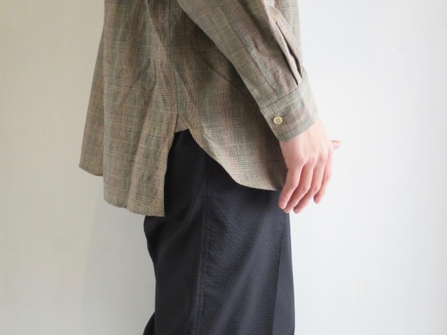 WELLDER  Band Collar Shirt Beige Glen Plaid  ウェルダー バンドカラーシャツ 4.jpg