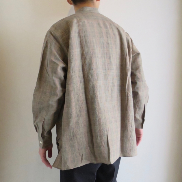 WELLDER  Band Collar Shirt Beige Glen Plaid  ウェルダー バンドカラーシャツ 5.jpg