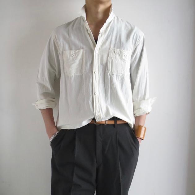 AUBERGE オーベルジュ Serge Linen Shirts White .jpg