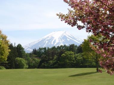 雪帽子浅めにかぶる春の富士