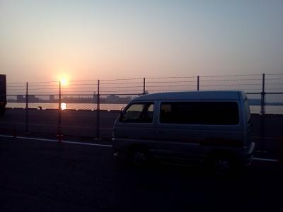 車中泊の朝