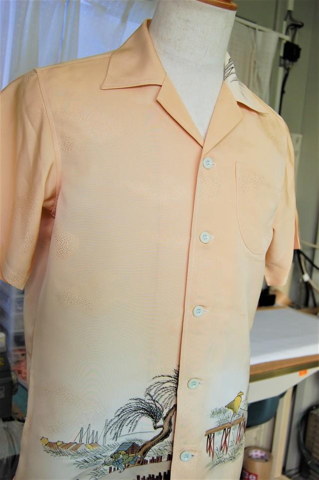 訪問着 リメイクアロハシャツ サイズ S