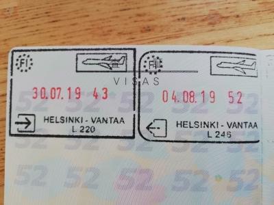 フィンランド出入国スタンプ