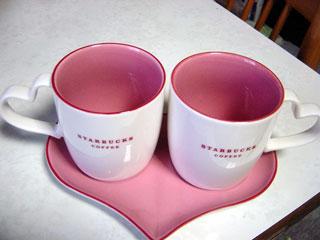 スタバさん 2007年バレンタイン限定マグ 「ハート ハンドル マグセット」