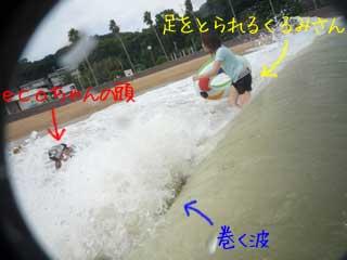 波打ち際の攻防