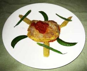 仔羊ピカタ パルミジャーノ風トマトソース