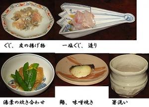和食の会 先付け、造り、焼き物、炊き合わせ