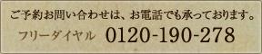 ��ͽ���䤤��碌�ϡ������äǤ⾵�äƤ���ޤ����ե������롧0120-190-278