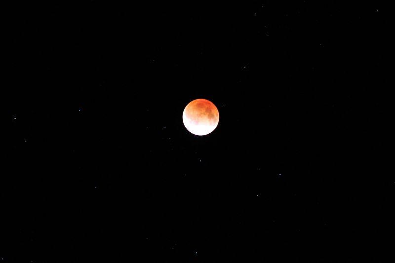 皆既月食の月と☆