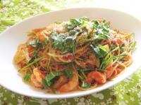水菜 海老 パスタ トマト