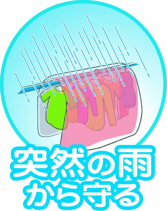 マジカルカバーは突然の雨から洗濯物を守ります