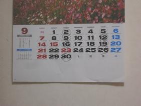 リハビリの先生が印を付けたカレンダー