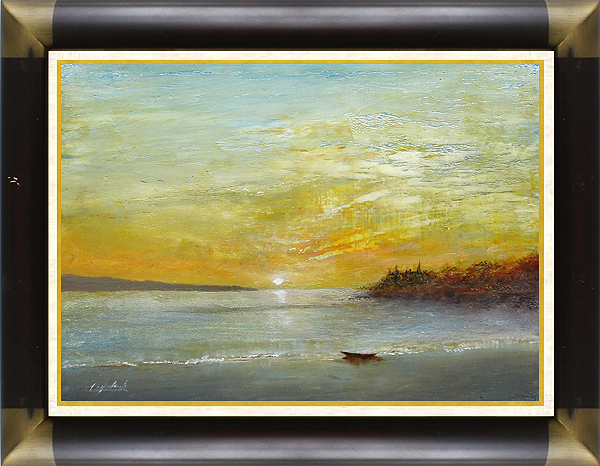 風景画 岡田旭峰 『旅路はるか』 作者の心境と風景を重ねた作品。 幻想的。