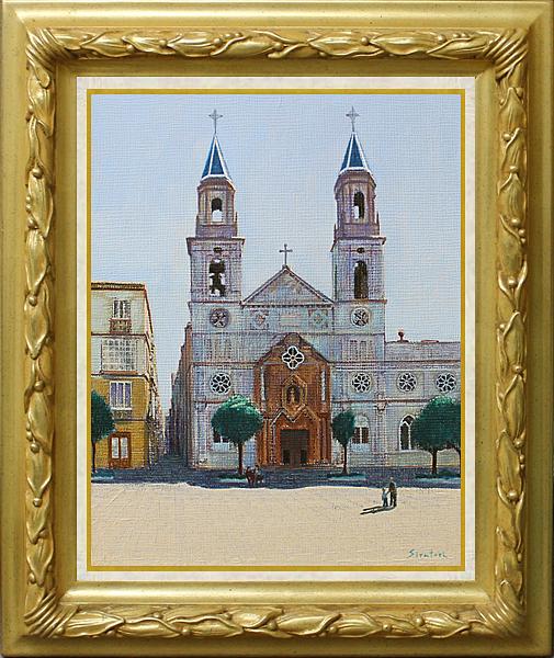 風景画 白鳥昌 『昼下がりの教会』 乾いた空気とゆっくりとした時間の流れ。 楽器の音色が聞こえてきそうだ。