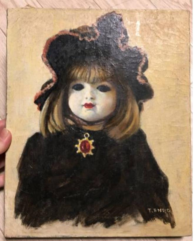 西洋人形 ビスク・ドール(英語: bisque doll、フランス語: poupee en biscuit) 静物画 遠藤保 題名不明 優れた画力と思うが、なぜか無名。 肩が歪なので、未完成作品かもしれない。
