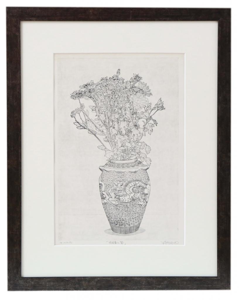 版画  作者不明 『琉球壺と菊』 線の流麗さに驚く。琉球壺も美しい。