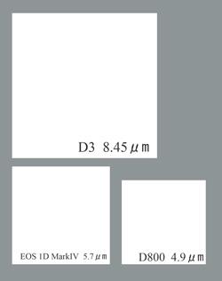 D800のピクセルサイズ