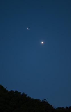 夕刻の木星と金星