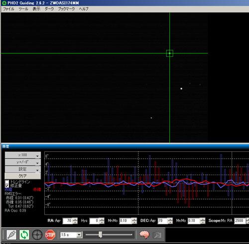 PHD2.6.2ガイドグラフ