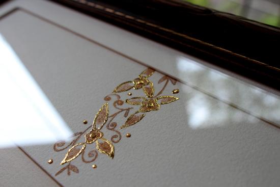 ゴールド・パウダー&金箔でのモチーフ