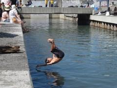 サーフスケーターズ10が茅ヶ崎の裏パークで。昇太、どぶ川に飛び込む〜!<・・・で、何でどぶ川に飛び込むの〜!?>