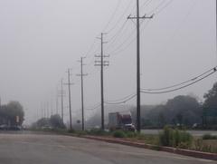 2時過ぎのビーチブルバードを海のほう見たら・・・まだ霧!