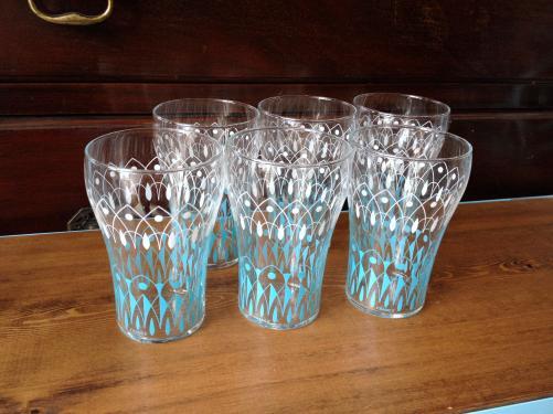 フランスヴィンテージ グラス /ブルー&ホワイト/レモネード